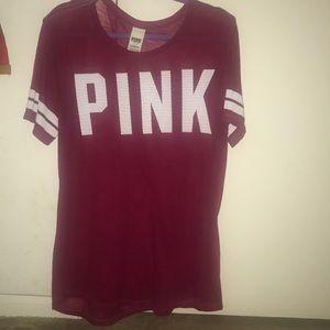 PINK maroon jersey t shirt